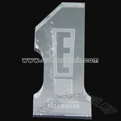Crystal number one paperweight