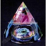 Crystal rainbow faceted cone paperweight