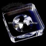 Crystal world paperweight