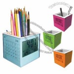 Cube Pen Holder with Calendar Clock