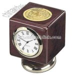 Cube rosewood finish desk clock