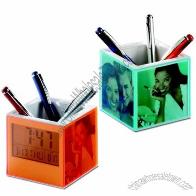 Cubic Ball Pen Holder With Calendar Clock