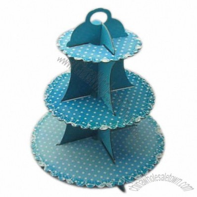 Cup Cake Stand with Cardboard and 3 Tiers, Suitable for Party Favors