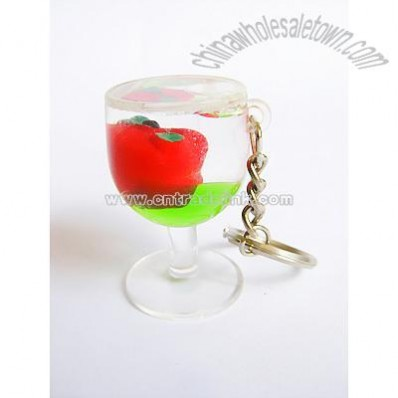 Cup Shape Liquid Keychain