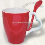 Cup with Heart Shape Handle with Spoon