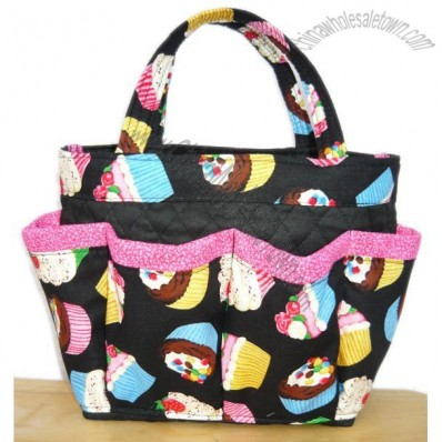 Cupcake small bingo bag / great for craft and make-up organizer