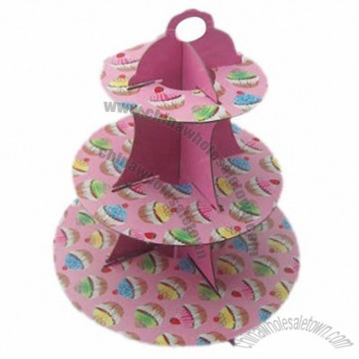 Cupcake stand, made of cardboard, 3 tiers, suitable for party favours