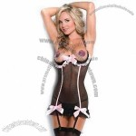 Cupless Ruffled Chemise with Five Accent Bows