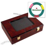 Custom 200 full color ABS composite poker chip set in a wooden case