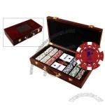 Custom 300 Hot Stamped Dice Poker Chip Set In A Wooden Case