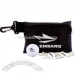 Custom Printed Kit w/ golf ball, tees & marker in a zipper pouch.
