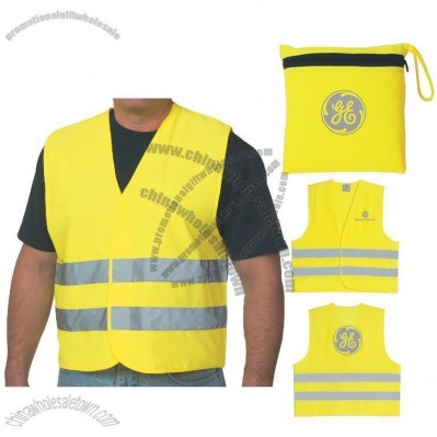 Custom Printed Reflective Vest w/ Zippered Pouch