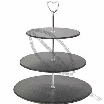 Customized Three Tiers Slate Cake Stand