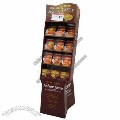 Cut Out Supermarket Spices Floorstand/Cardboard Display Stand with 4C Offset Printing