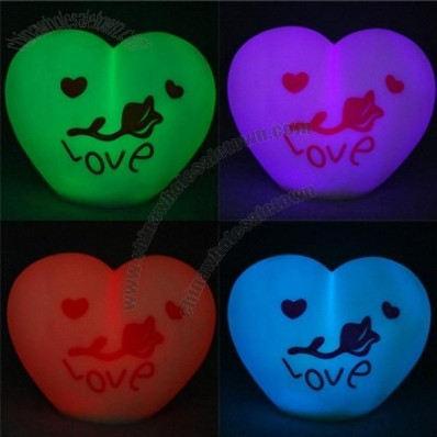 Cute Romantic Love-heart Shape 7-color Changing LED Lamp Light