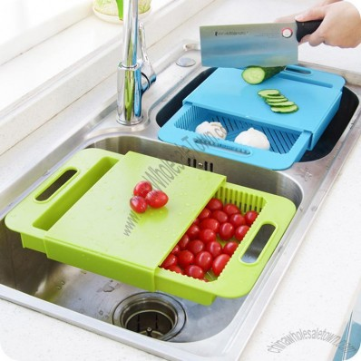 Cutting Board & Drain Basket Combo