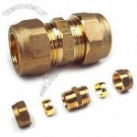 DZR Brass Compression Fitting in Various Sizes, Equal Coupling