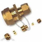 DZR Brass Compression Fitting with Natural and Chrome Plating, Reducing Coupling