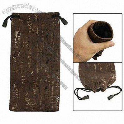 Dark Brown Flannel Nylon Ling Telephone Glasses Sunglasses Pouch Holder