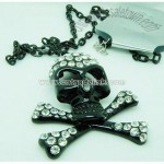 Death's-Head Charm Crystal Necklace