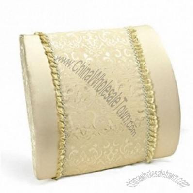 Decent Car Waist Cushion Low Back Cushion Pillow With Embroidery Pattern Khaki