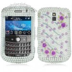 Decora Series Blackberry 9000 Crystal Case Purple Pearl Rose