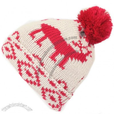 Deer Jacquard Pattern Beanie Hat with Pompom