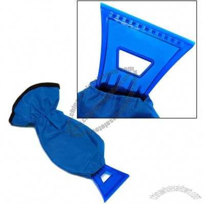 Deluxe Ice Scraper with Mitt. Heavy duty nylon outer with warm polyester lining