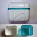 Denture Bath Case Container Box & Rinsing Basket Denture Box
