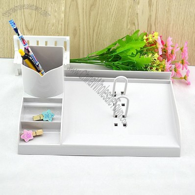 Desk Calendar Shelf with Pen Holder and Paper Clip Box