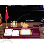 Desk Gift Set with Calendar, Name Card Holder, Pen Holder, Clock, Flage Stand