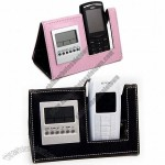Desk LCD Display Leather Clock with Mobile Phone Holder