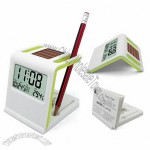 Desk Solar Clock with Pen Holder