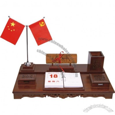 Desktop Business Set with Pen Holder, Calendar, Double Flag Stand, Memo and Clip Holder