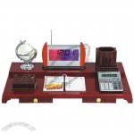 Desktop Redwood Calendar with Clock, Pen Holder, Tellurion