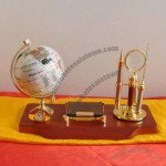 Desktop Stationery Set with Globe, Clock, Memo Holder, Magnifier, Letter Opener, Metal Pen