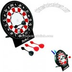 Desktop magnetic dart board with utensil cup stand