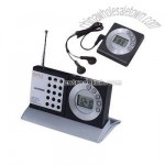 Desktop mobile radio with clock mode, flip out stand, and retractable antenna