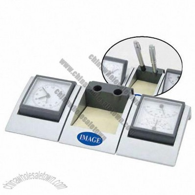 Detachable Alarm Clock With Thermo/hygrometer, Pen Holder And Memo Pad