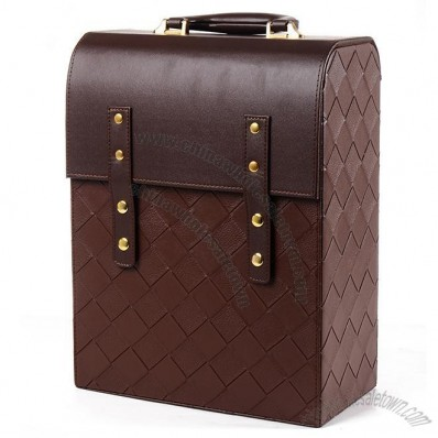 Diamond Lattice Pattern PU Leather Wine Box