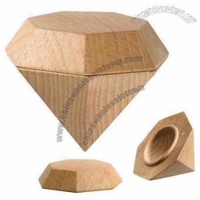 Diamond Shaped Wood Jewelry Gift Box