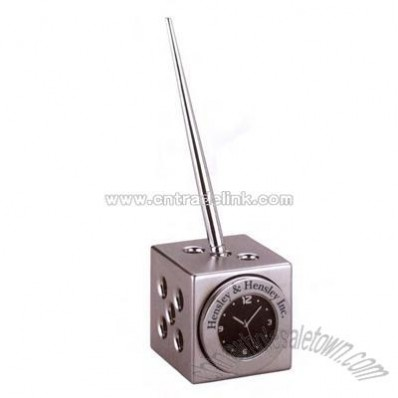 Dice clock pen holder with Arabic numbers and seconds hand