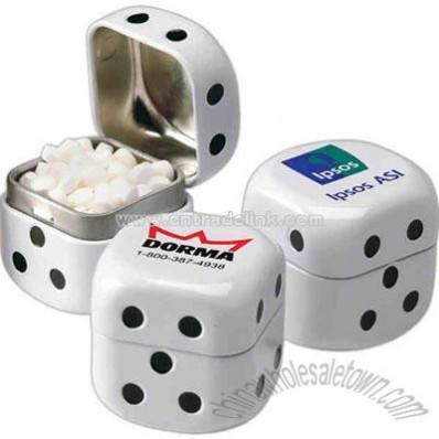 Dice shape tin filled with mints