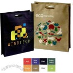 Die cut handle polypropylene tote bag with gusset