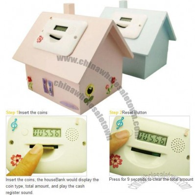 Digital House Shaped Money Coin Bank - Wooden