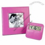 Digital Leather Clock and Photo Frame Set