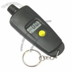 Digital tire pressure gauge with keychain in black