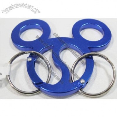 Disney's Mickey Mouse Ears Blue Anodized Metal Ying Yang Carabiner Keychain