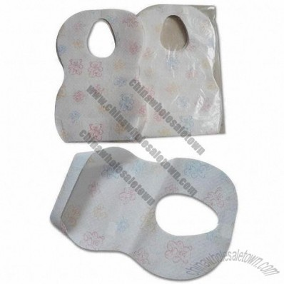 Disposable baby bib, one-off, nonwoven cloth with PE film and paper sheet inside