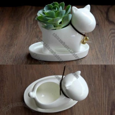 Dog Ceramic Succulent Planter Flower Pot